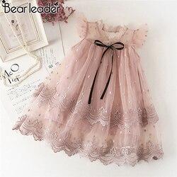 Платье для маленьких девочек Bear Leader, летнее сетчатое цельнокроеное приталенное платье розового цвета с аппликацией, 2019