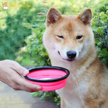 FATHIN 8 Colors Portable Pet Folding Bowl Healthy ABS Silicone For Dogs Easy to Carry Outdoor Supply 13X9CM