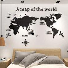 Diy grande acrílico adesivo de parede mapa do mundo para escritório sala estar tv fundo decoração para casa espelho adesivos