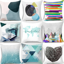Pillow case 45 45 Nordic ins blue color geometric striped printed polyester pillowcase Square decorative pillowcase