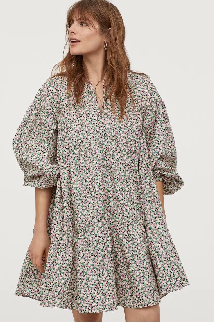 Summer Dress 2020 A Line Floral Cotton Zaraing Women Dress Sheining Vadiming Female Streetwear Sexy Vintage Plus Size A9714
