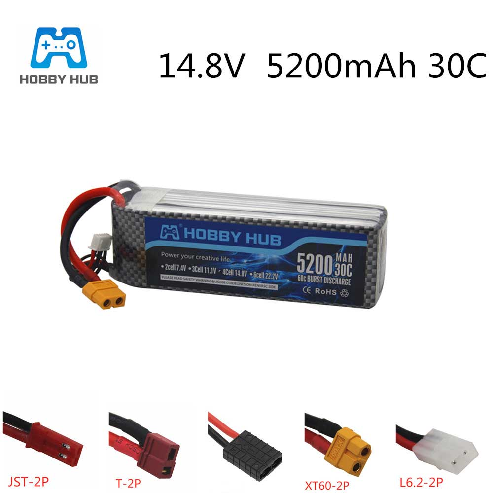 Hobby hub 14.8V <font><b>4S</b></font> <font><b>5200mAh</b></font> 30C power battery for RC airplane drone helicopter Car RC Boat Quadcopte Remote Control toys <font><b>4s</b></font> image