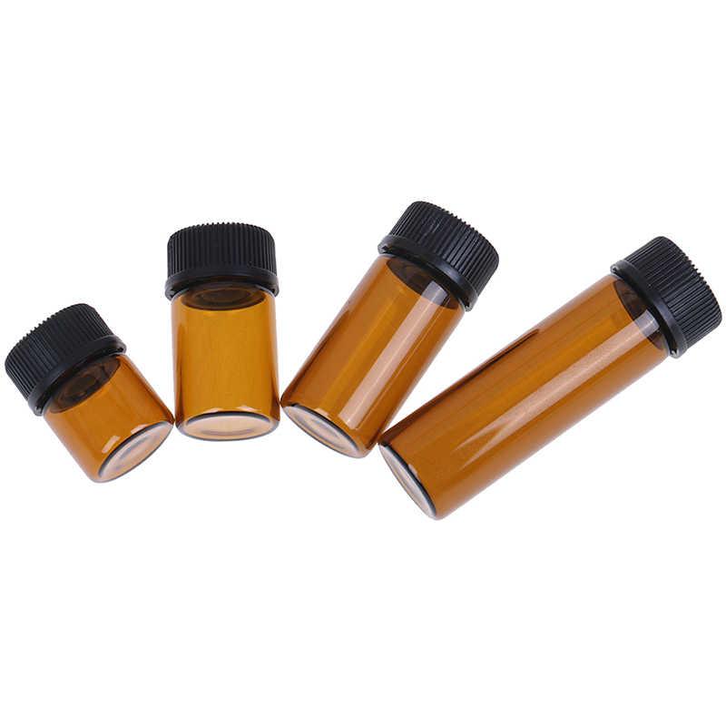 2020 1/2/3/5ml aceite esencial de botella de vidrio ámbar Mini botella de vidrio recargable botella de muestra frascos de vidrio marrón con tapa