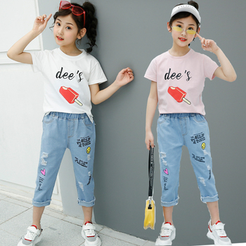 Newest Summer Children Clothing Set Kids T Shirt And Capri Jeans Clothing Set with Ice - sucker Design 1