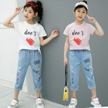Newest Summer Children Clothing Set Kids T Shirt And Capri Jeans with Ice - sucker Design
