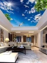 3d ceiling murals wallpaper Blue sky white clouds  coconut tree seabird, sun ceiling, mural