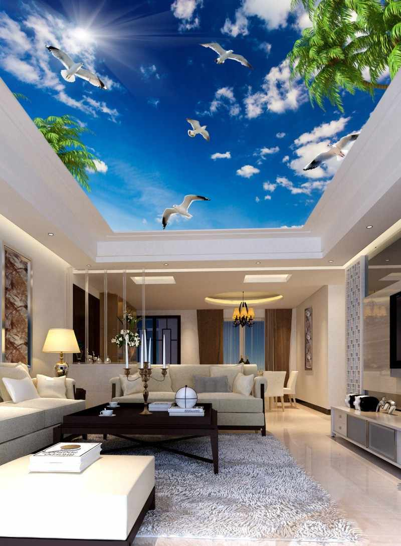 3d Ceiling Murals Wallpaper Blue Sky White Clouds Coconut Tree