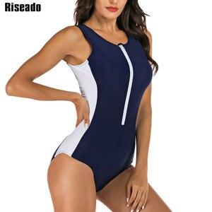 Image 4 - Riseado döküntü bekçi mayo kadın spor tek parça mayo 2020 fermuar mayo sörf mayo siyah Beachwear XXL