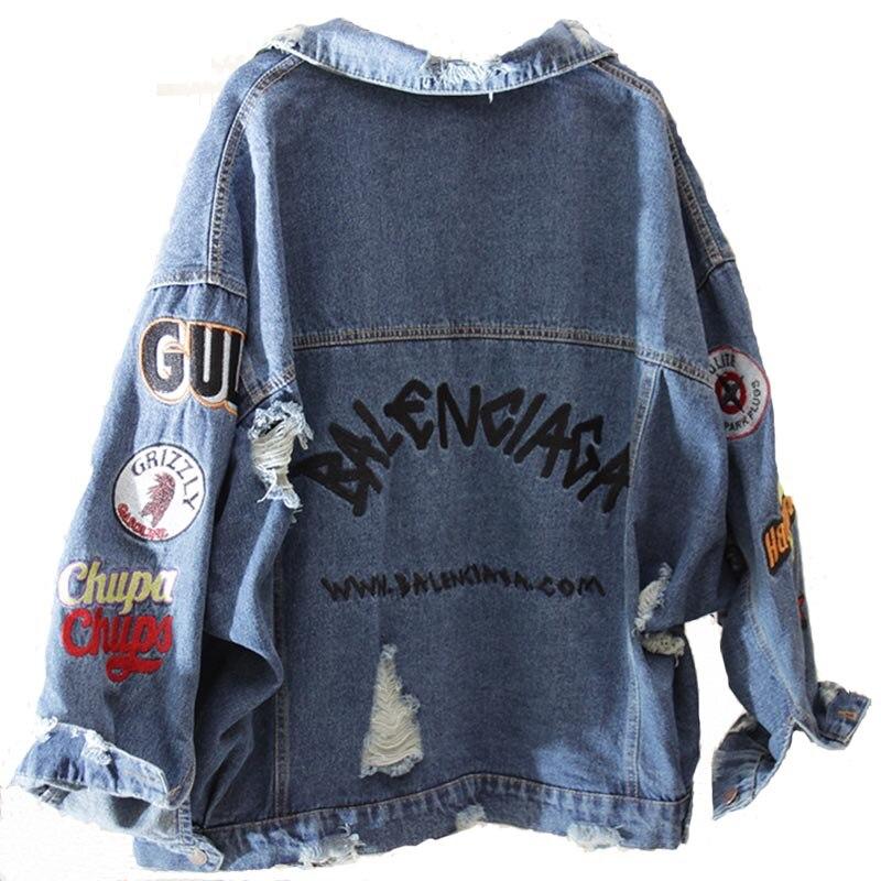 DAYIFUN Harajuk veste en jean ample femmes broderie jean manteau Hip Hop trou simple boutonnage jean veste 2019 femmes veste C402