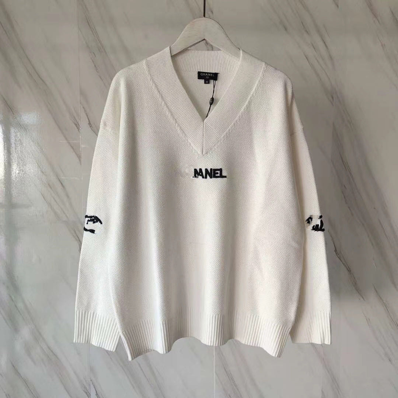 2021 New Women Spring Fashion Casual Pullovers Female Luxury Letter Pattern Embroidery Tops Ladies High Quality Elegant Sweater