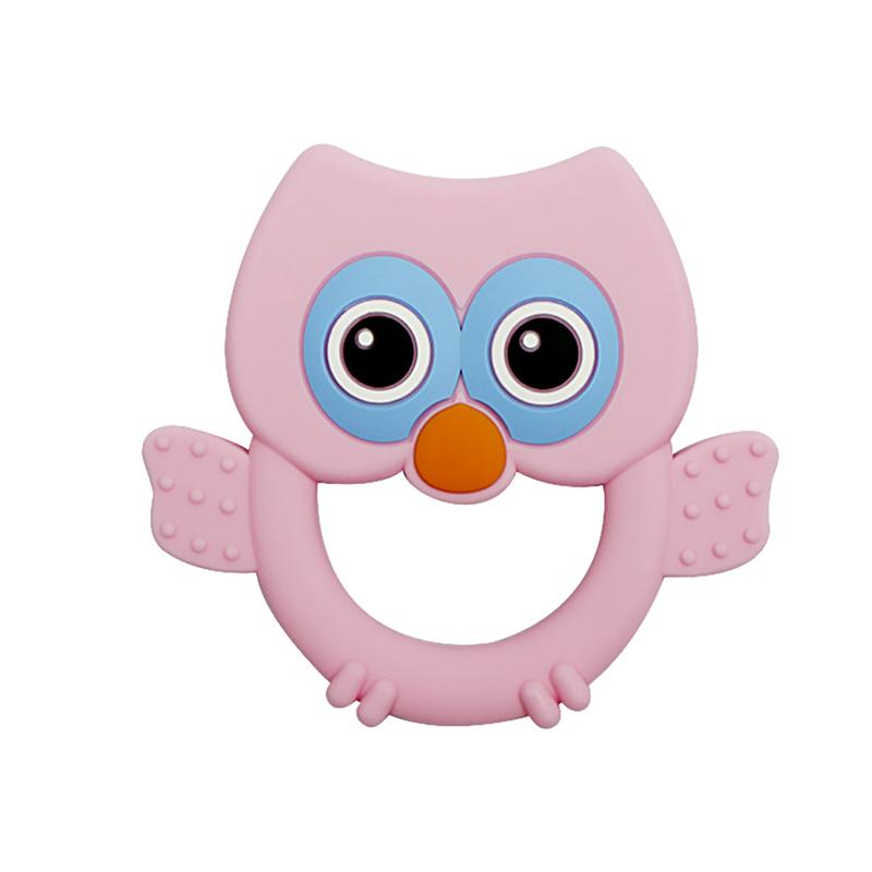 Owl Molar Toy Baby Molar Toy Silicone Baby Teether Baby Owl Molar Toy Educational Playthings (Pink)