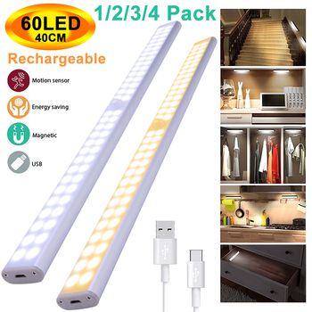 40CM 60LEDs USB Rechargeable PIR Motion Sensor 2 Row LED Cabinet Closet Light Portable Wall Lamp For Cupboard Kitchen Wardrobe  1