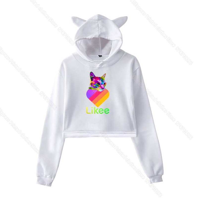 Girls Pink Cat Ear LIKEE Hoodies Cat Crop Top Likee App Hoodie Women Cartoon Unicorn Fox Sweatshirt Female Harajuku Streetwear 11