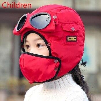 2020 New original design fashion warm cap winter men winter hats for women kids waterproof hood hat with glasses cool balaclava 11