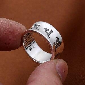 Image 3 - Anillo Om Mani Padme Hum 100% joyería de plata de ley 925 auténtica para mujeres y hombres joyería hecha a mano estilo tailandés de plata Vintage
