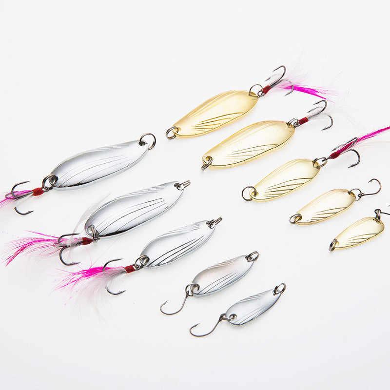 1Pc 5g/8g Gold Sliver เหยื่อตกปลาโลหะช้อน Sequins Spinner Feather Hard เหยื่อ sea Lake Lure เครื่องมือ Wobblers