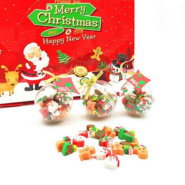 20PCS Christmas Gifts Santa Claus Snowman Eraser Transparent Packaging Ballpoint Pen Writing Eraser Children's Christmas Gift 20