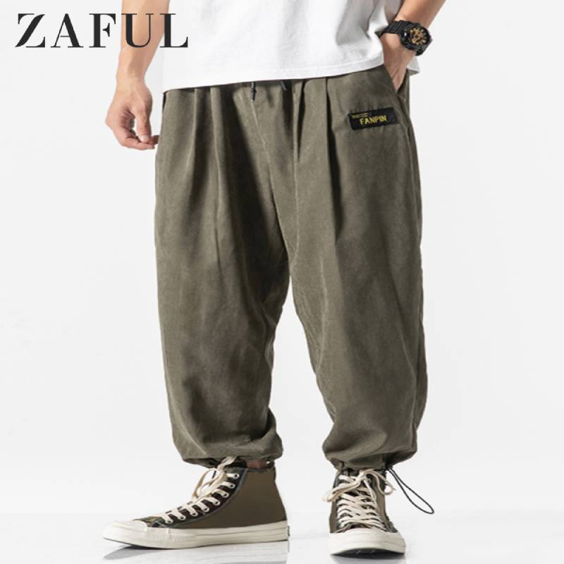 ZAFUL Men's Solid Color Applique Pants Trousers Loose Jogging Elasticity Sports Pants Hip Hop Fashion Men's Casual Pants 2019