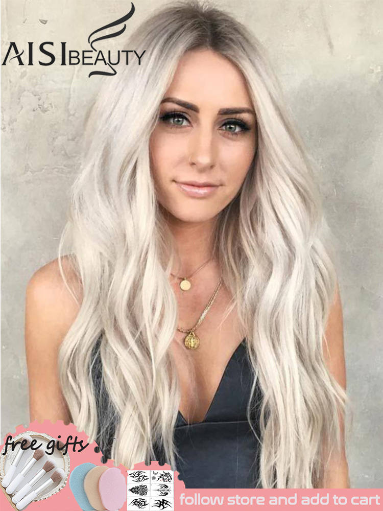 Synthetic Wigs Side-Hair Natural-Part Heat-Resistant Wavy Long Ombre Aisi Beauty Blonde/black