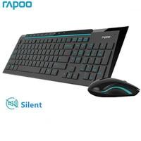 Combo Mouse tastiera Wireless Rapoo Multimedia con Mouse silenziosi Ultra sottili alla moda per PC TV da gioco