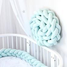 1M/2M/3M  Baby Bumper bed Braid Knot Pillow Cushion Three strand Braid  Bumper for Infant Bebe Crib Protector Cot Bumper Room De