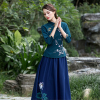 SHENG COCO Plus Size 4XL Chinese Traditional Top Women Navy Blue Embroidery Cotton Qipao Tops Oriental Autumn Haut Chinois