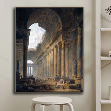 Canvas Wall Art Old Temple By Hubert Robert Painting Classic Art Reproductions Prints Famous Artwork for Home Office Decor