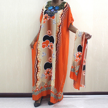 2020 African Clothes For Women Dashiki Fashion Print Design Applique Orange 100% Cotton Loose Maxi Dress With Scarf For Holiday