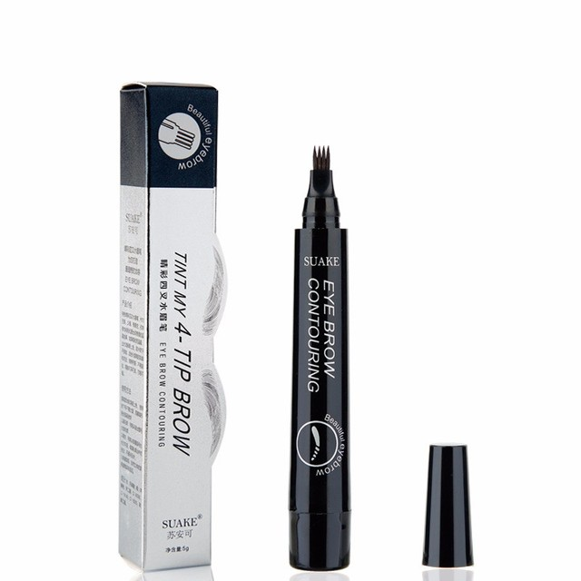 3D Microblading Eye Brow Tattoo Pen 4 Colors 4 Fork Tips Fine Sketch Ink Liquid Eyebrow Pencil Waterproof Tint Eyes Makeup TSLM2 5