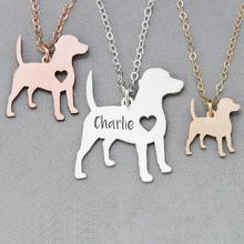 Necklace for Women Silhouette Animal Dog Charm Name-Dog Custom Stainless-Steel Sipuris