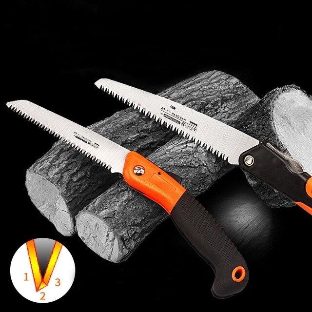 Scie à main pliante avec manche TPR, pour scie à main de jardin, outils de coupe darbres, 6