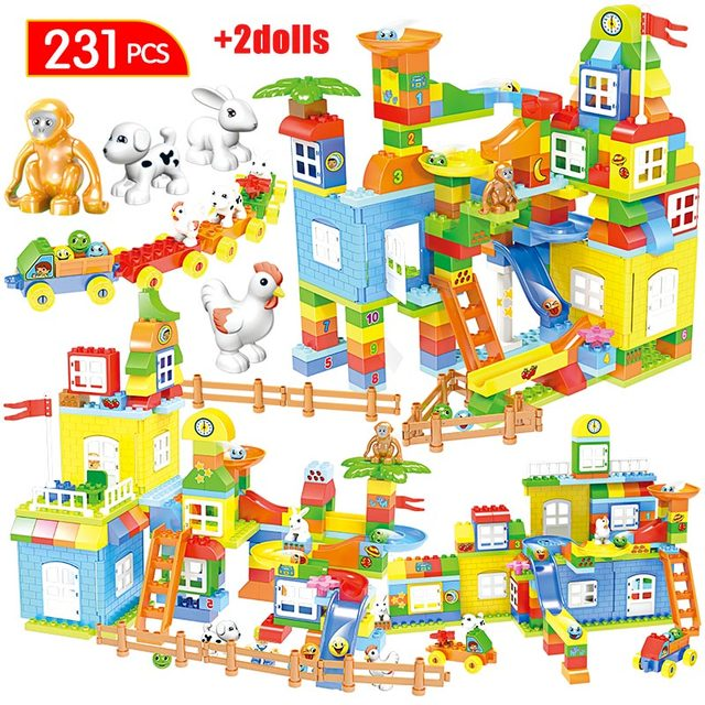 231pcs City Large Particle Slide Model Building Blocks Duploed Track Big Size Deformation Animal Bricks Toys for Kids
