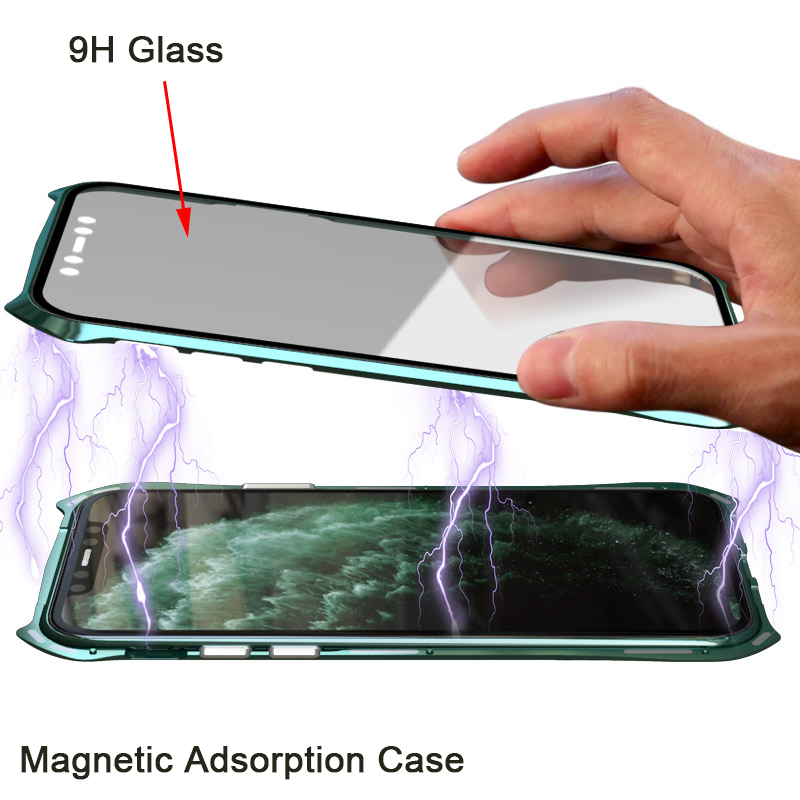 360 Full Protective Case For iphone 11 case Metal Magnetic Adsorption For iphone 11 pro max 2019 New Cases Cover Bumper Coque