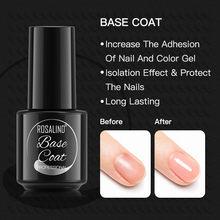 ROSALIND uña capa Base de Gel 7ml transparente de larga duración imprimación para manicura de uñas de Gel UV arte de esmalte de uñas Gel laca