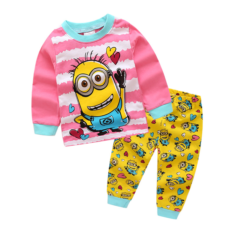 Children Girls Pajamas Pyjamas Kids Pajamas Toddler Girls Pijamas Cotton Pajama Set Baby Girl Pjs Home Clothes Pink Minion Style