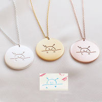Custom Artwork Jewelry Unique Child's Drawing Writing Round 925 Silver Necklace Children Engrave Name Jewelry Necklace Mom Gift