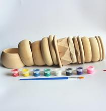 SANSHOOR 14 Designs Unfinished Wooden Bangles Bracelet Set Large Width Diameter For Women Children DIY Painting Jewelry Craft