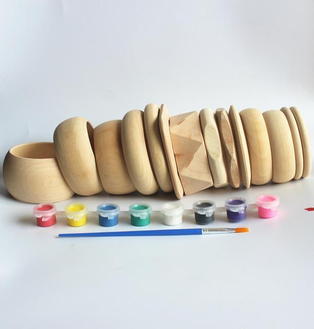 Sanshoor 14 デザイン未完成木製バングルブレスレットセット大幅直径女性の子供diy塗装ジュエリークラフト