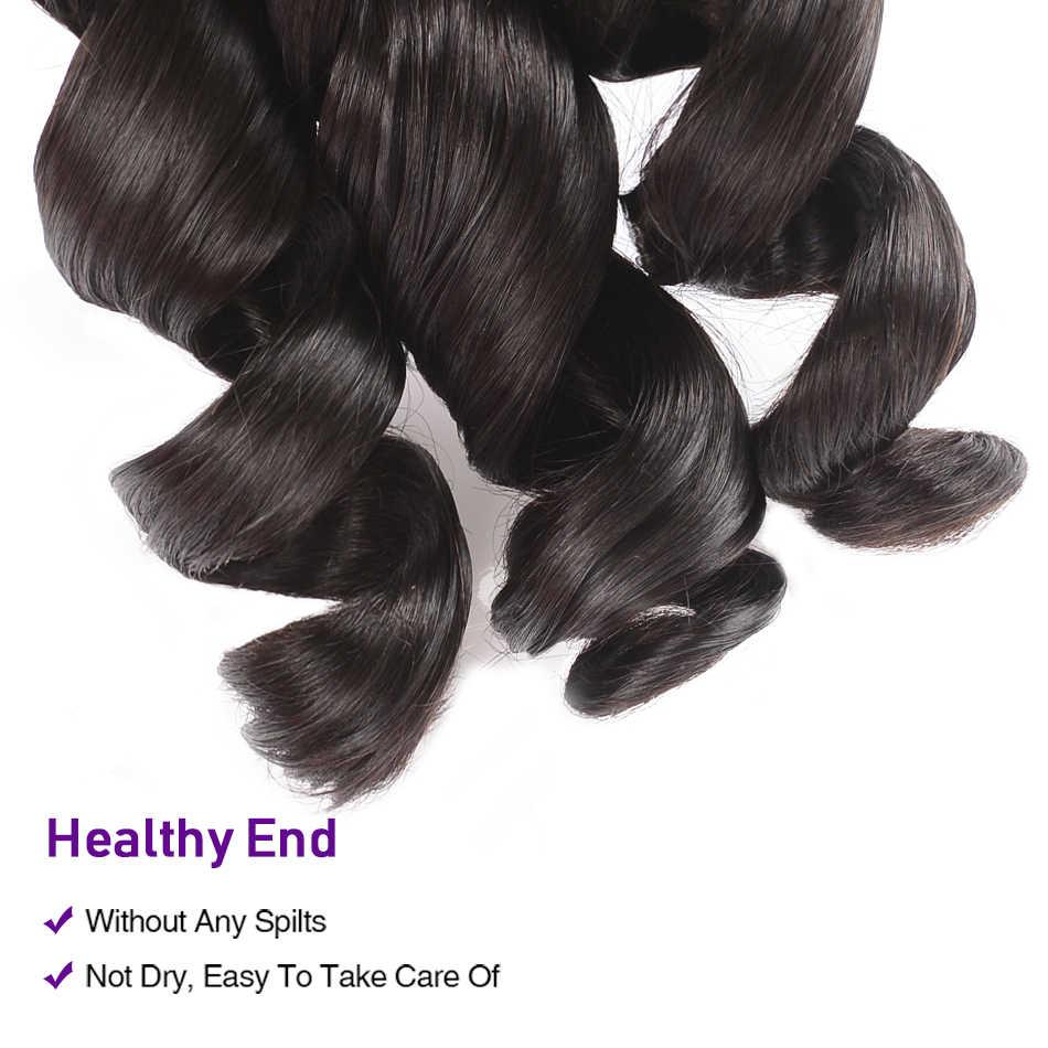 UNice Hair Kysiss Series 8A Indian Virgin Hair Loose Wave 100% Human Hair Weave 3 Bundles Natural Color Human Hair Weave