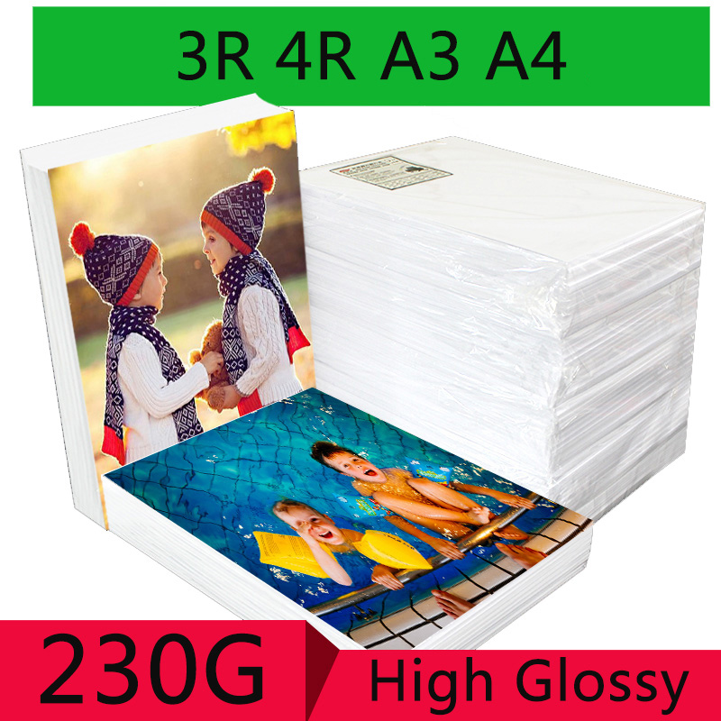100 Sheets/package 3R 4R A3 A4 High Gloss Photo Paper For Inkjet Printer Photo Studio Photographer Image Printing Glossy Paper