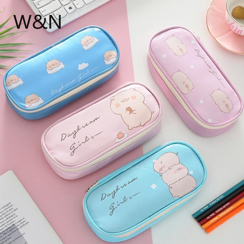 <font><b>Kawaii</b></font> Pig <font><b>Pencil</b></font> <font><b>Case</b></font> Leather <font><b>Pencil</b></font> <font><b>Case</b></font> for Girls Boys <font><b>Big</b></font> Pencilcase Cute Flamingo <font><b>Pencil</b></font> Box Gift Storage Pouch Stationery image
