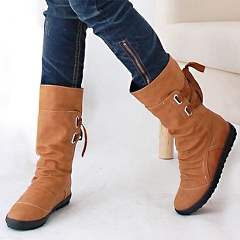 Plus Size Women Snow Boots Fashion Buckle Flat Mid-calf Martin Boots Female Black Lace Up Leather Warm Winter Shoes Women CVT49