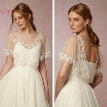 Simple Lace Applique Wedding Jacket Bridal Bolero 2021 Tulle Short Sleeve White Ivory Coat Custom Made Party Cape Shrug Shawl