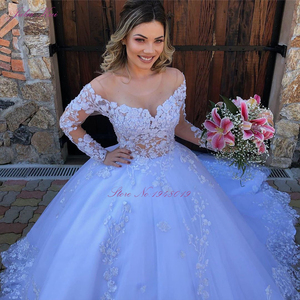 Image 3 - Julia Kui Off White Skin Tulle Of Scoop Neckline Ball Gown Wedding Dress With Long Sleeve Princess Wedding Gown