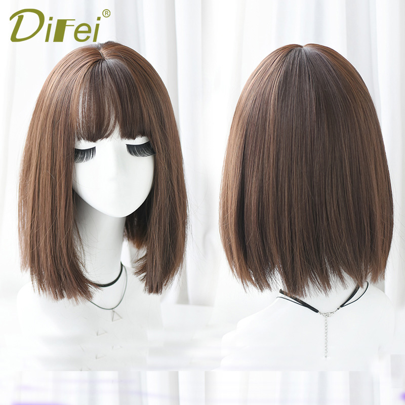 DIFEI High Temperature Synthetic Wig Short Straight Hair Bob Hairstyle Full Wig Three Colors Optional With Air Bangs