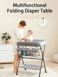 Mesas de cambio multifuncionales, cambiador de ropa de bebé, pañal de masaje, cama plegable, altura ajustable, mesa de pañales de cama de bebé