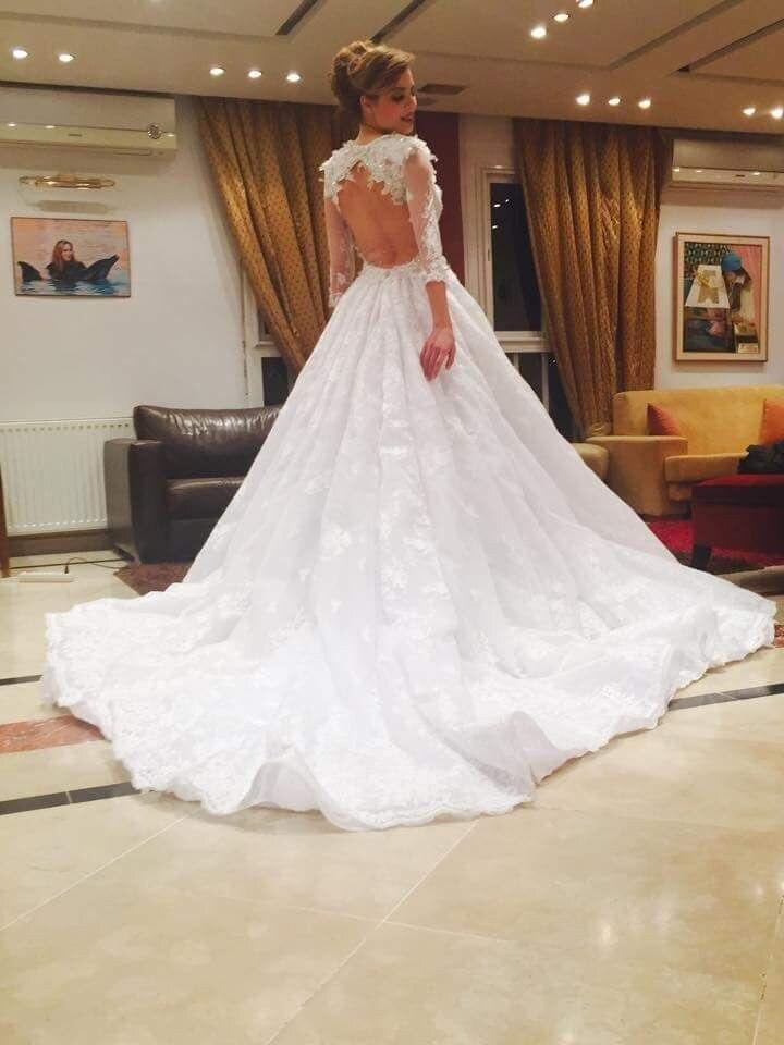 2018 Vestido De Noiva Fashion Jewel Appliqued Pearls Keyhole Back Long Sleeve Lace Bridal Gown Mother Of The Bride Dresses