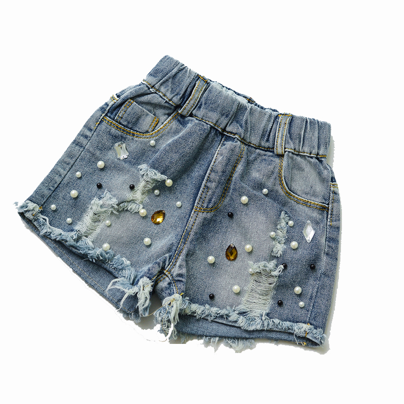2019 Spring summer new girls denim shorts Korean children's wild washed broken flash edge hot pants jean fille 2