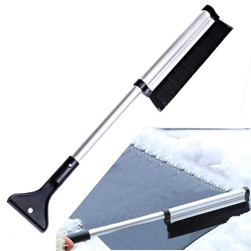 Zimowa przednia szyba samochodu skrobaczka szklana szczotka do śniegu wysuwana stal nierdzewna narzędzie do usuwania śniegu narzędzie do czyszczenia miotły akcesoria do mycia