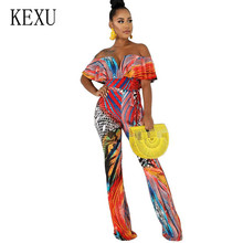 KEXU Fashion Floral Print Sexy Deep V-neck Slim Jumpsuits Women Off  Shoulder Holiday Bodycon Playsuits Vintage Rompers Clubwear